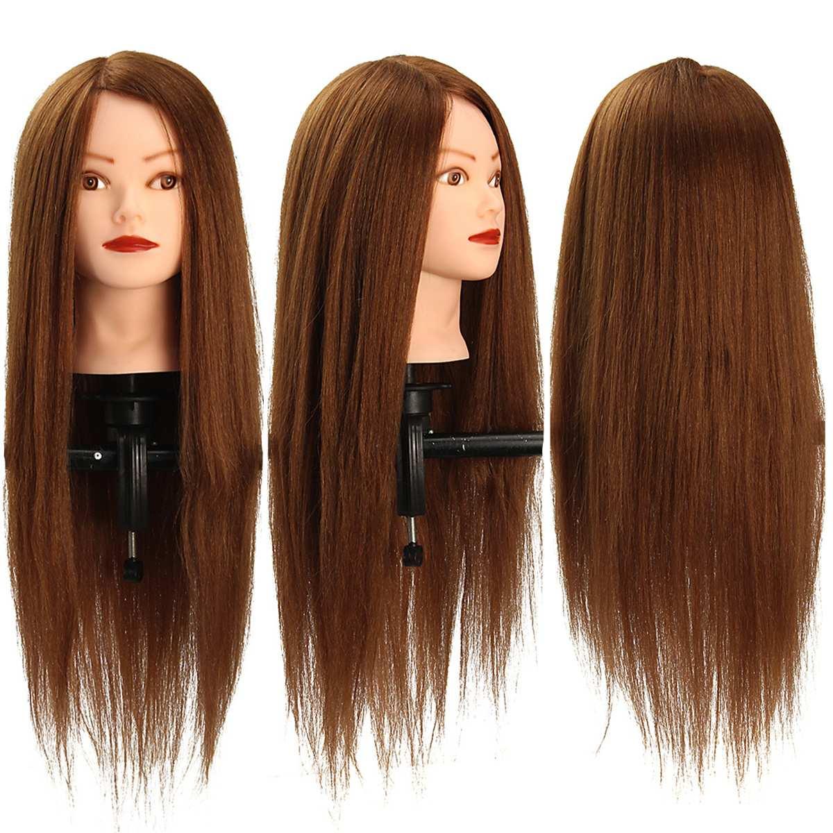 24 Inch 100% Real Human Hair Brown Straight Hair Training Head Hairdressing Practice Training Mannequin Hair Model Doll Head