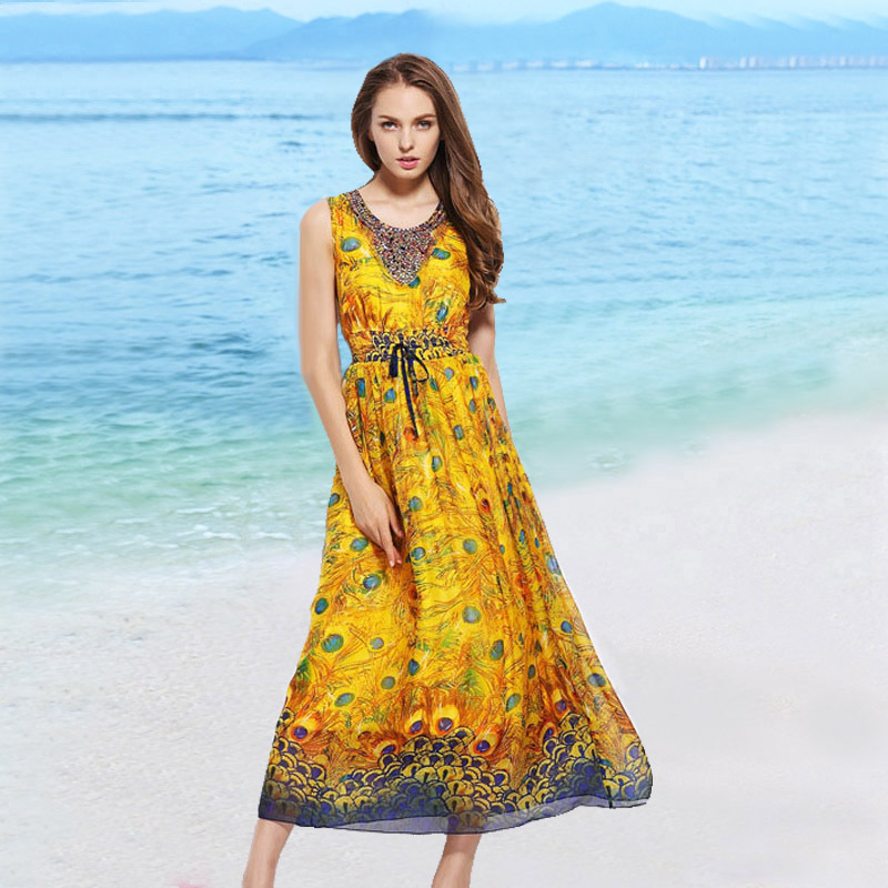 100% Natural Silk Dress Women 2019 Summer Vintage Holiday Boho Beach Peacock Print Luxury Beading Sleeveless Midi Dress