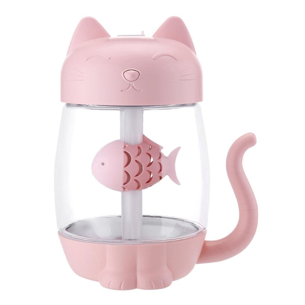 3 in 1 350ML USB Cat Air Humidifier Ultrasonic Cool-Mist Adorable Mini Humidifier With LED Light Mini USB Fan for Home office #