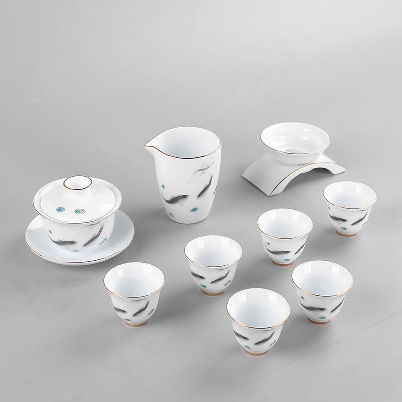 Tè Dehua Porcellana Bianca Traccia UN Disegno In Oro Tè Insieme del Vestito Piccolo Fresco Concise 6 Tazza di Lavorare In un Ufficio Per La Casa Tea Set - 6