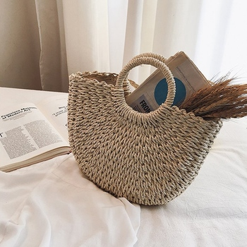 Bag Centre Store New Arrival Moon Straw Shoulder bag Women Summer Beach Bag Handmade Vintage Woven Handbag For Women 1
