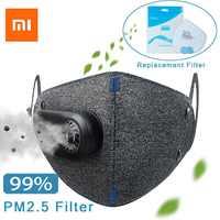 Xiaomi anti poluição respirador pm2.5 filtro esporte bicicleta anti máscara de poeira com ventilador de proteção ao ar livre purificador de respiração Controle remoto inteligente     -