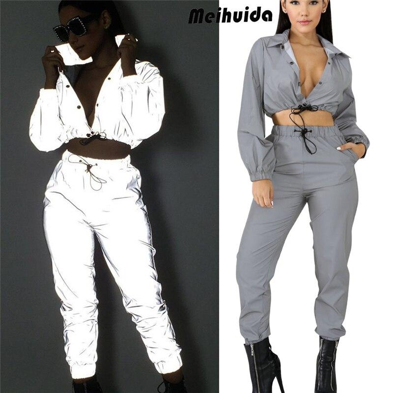 Reflective Jumpsuit Playsuit Women Fashion Reflective Zipper Long Sleeve Top Casual Club Sport Jumpsuit 2pcs
