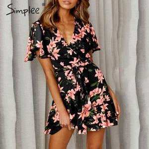 Image 2 - Simplee 自由奔放に生きる花柄女性プラスサイズショートドレスサッシフリルホリデーミニビーチドレス夏のエレガントなホワイトサンドレス