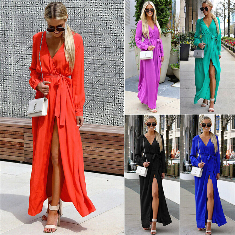 Women Boho Long Dress Summer Holiday Clothes Lady V-Neck Long Sleeve Beach Sundress Women Solid Ankle-length Swing Dress