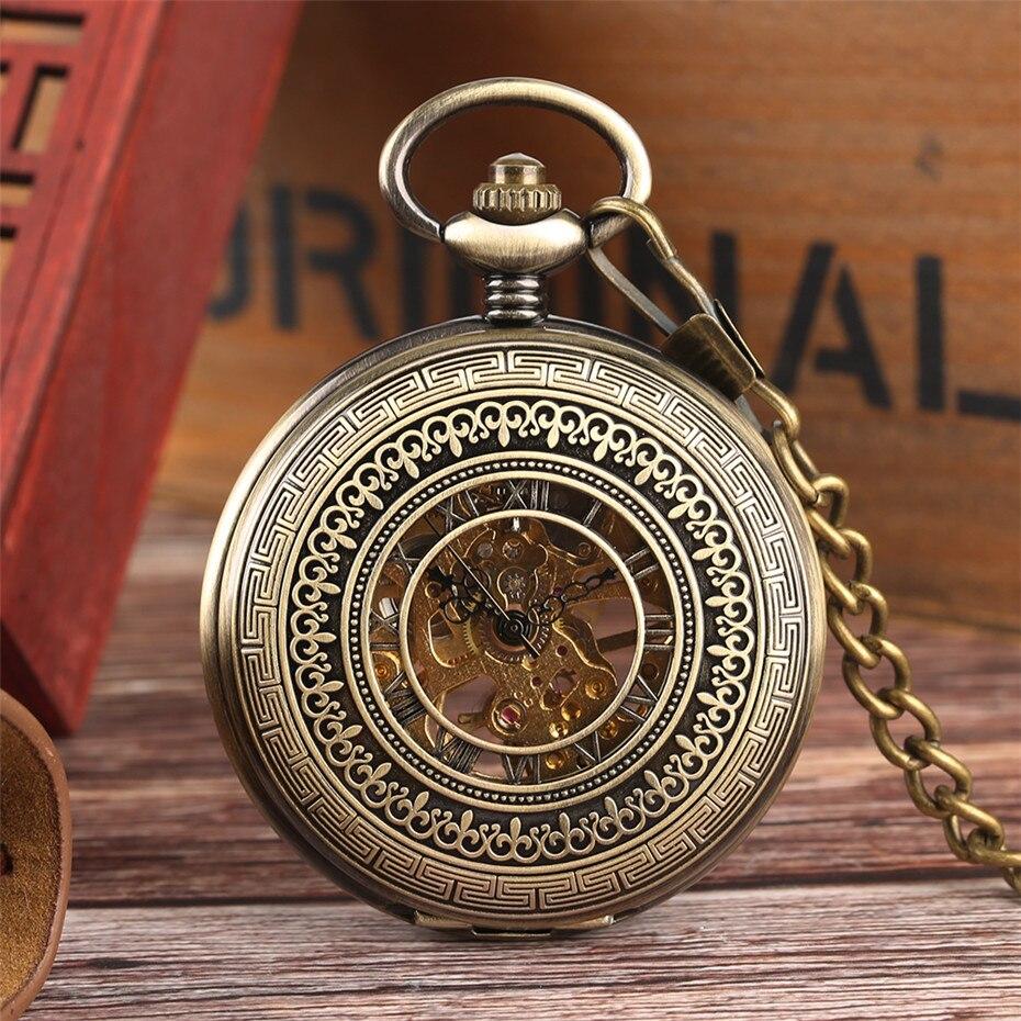 Vintage Bronze Mechanical Pocket Watch Hollow Exquisite Design Hand-Wind Roman Numerals Display Pendant Watch Gift For Men Women