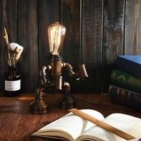 E27 Vintage Industrial Robot Light Water Pipe Steampunk Table Lamp Bedroom Desk Lantern Home Decoration Indoor Lighting Fixture