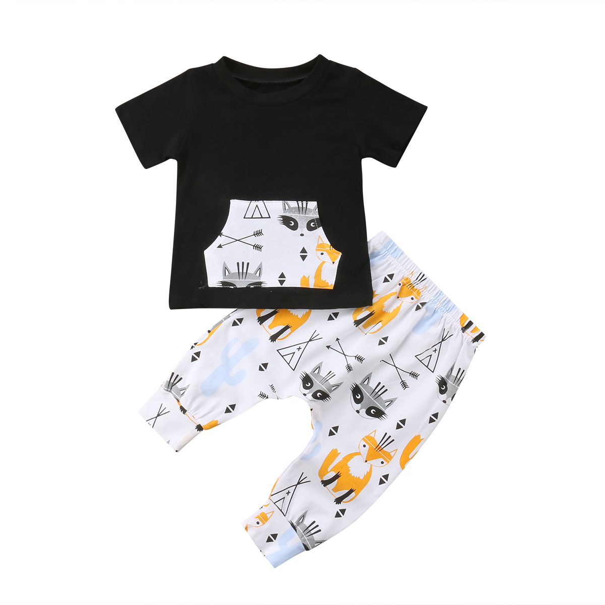 2pcs Summer Baby Boy T-shirt Tops+Pants Trousers Outfit Toddler Kids Clothes Set
