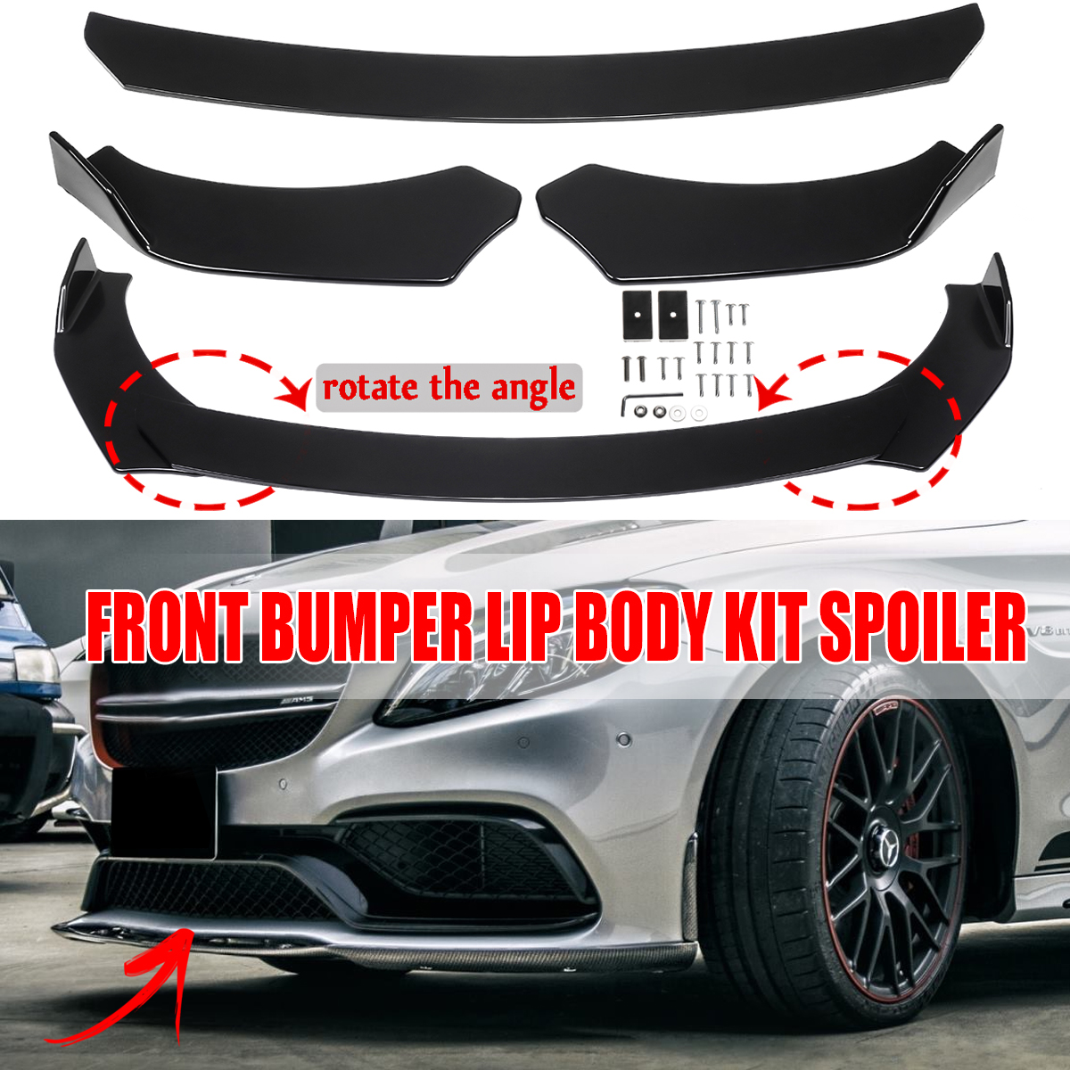 Front Bumper Lip Fits Universal Vehicles 24 Inch x 4 Inch IKONStyle Black PP Front Lip Finisher Under Chin Spoiler Add On by IKON MOTORSPORTS