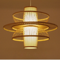 SETTEMBRE Southeast Asian Japanese Style Bamboo Chandelier LED Wood Chandelier with Three Sizes