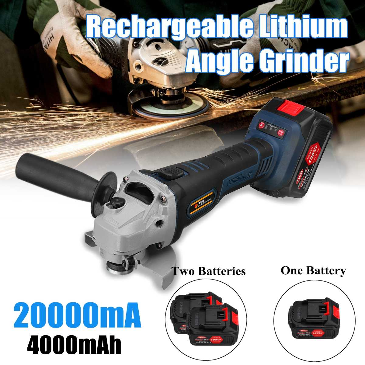 108VF 4000mah 20000mA Cordless Electric Angle Grinder Polisher 110V~220V Machine With 2 Rechargeable Lithium Battery WrenchTool