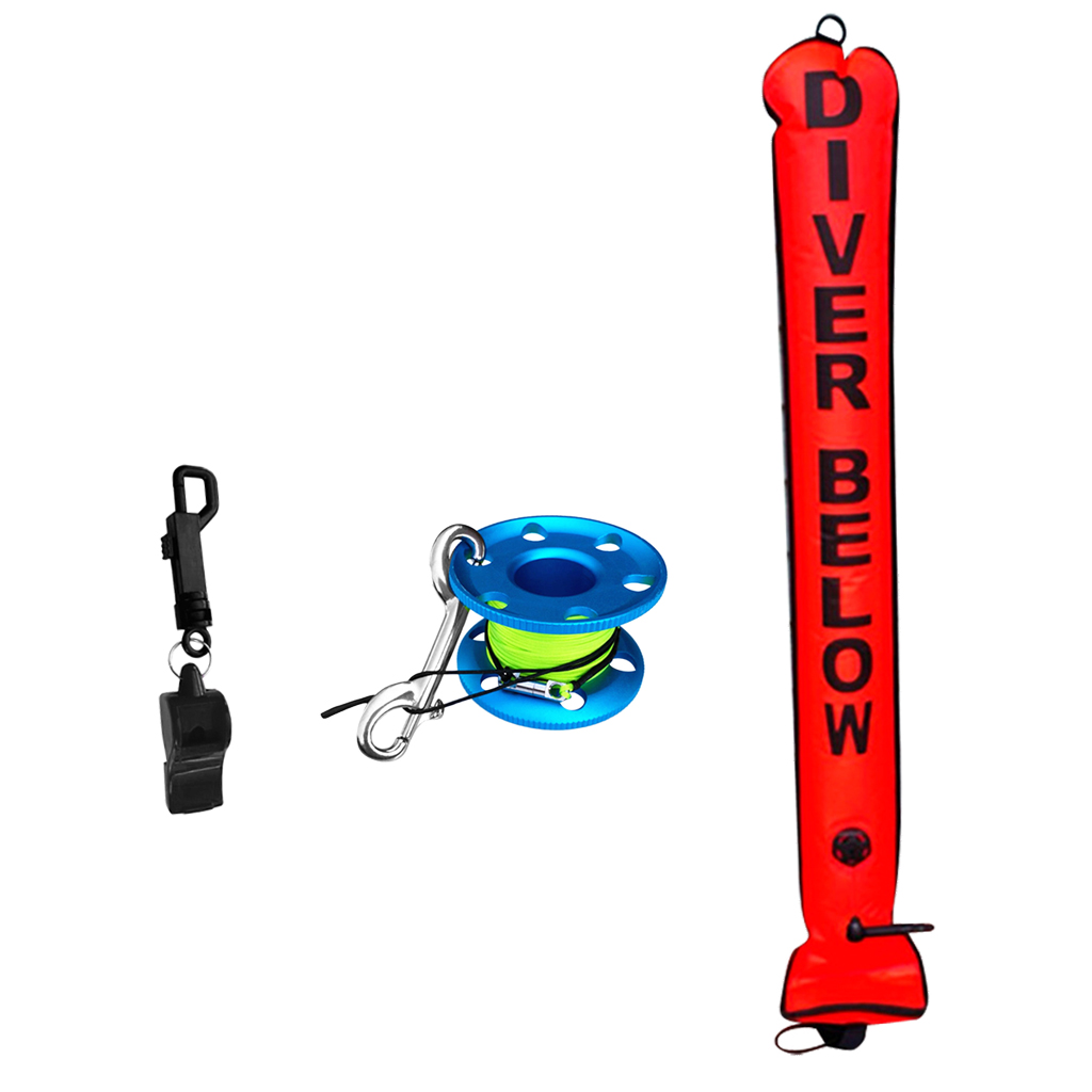 4FT Orange Scuba Diver Diving (SMB) Surface Marker Buoy Signal Tube + Finger Spool Reel Line Double Ended Bolt Snap + Whistle