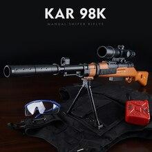 2019 Venta caliente Mini 98 K Rifle de francotirador Manual pistola de juguete de acción en vivo CS batalla juguete 7-8 MM bala al aire libre pistola de juguete de bebé niño de juguete de regalo