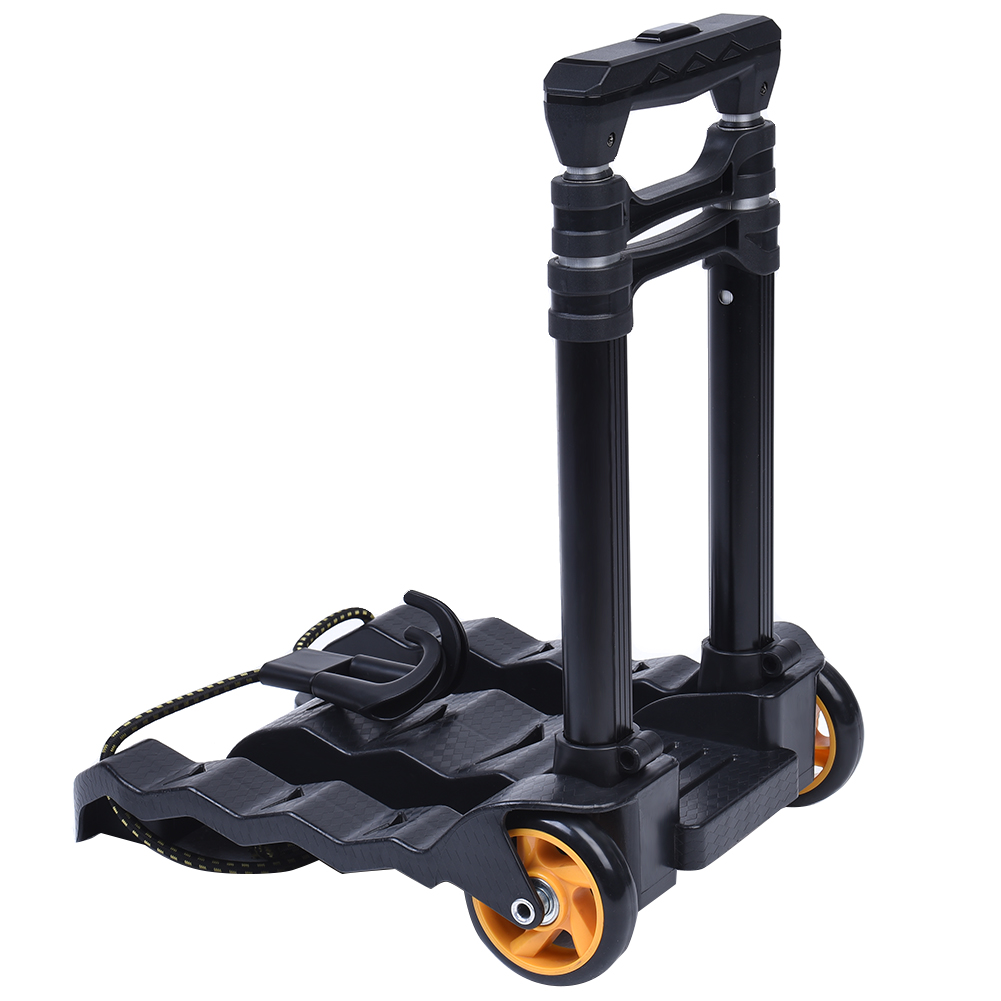 Hand-Truck Luggage Cart Folding With 2-Bungees 70lb Load-Capacity Retractable Heavy-Duty