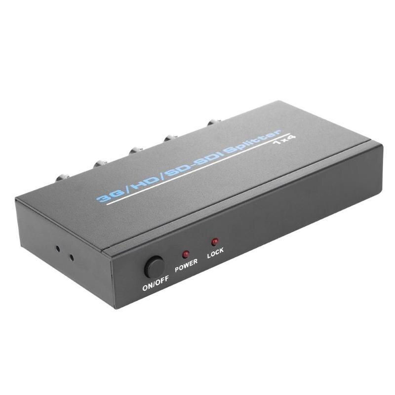 4 Port 3G/HD/ SD-SDI Splitter 1x4 One SDI Input Four Output Distributor Video Amplifier Switcher EU US Plug Cable