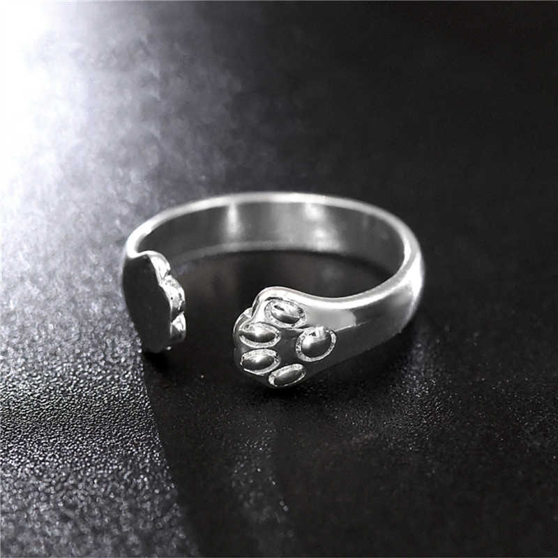 Cat Claw Rings For Women Jewelry Silver Cute Ring Open Adjustable Engagement Rings For Female Wedding Rings Promise Women Gifts