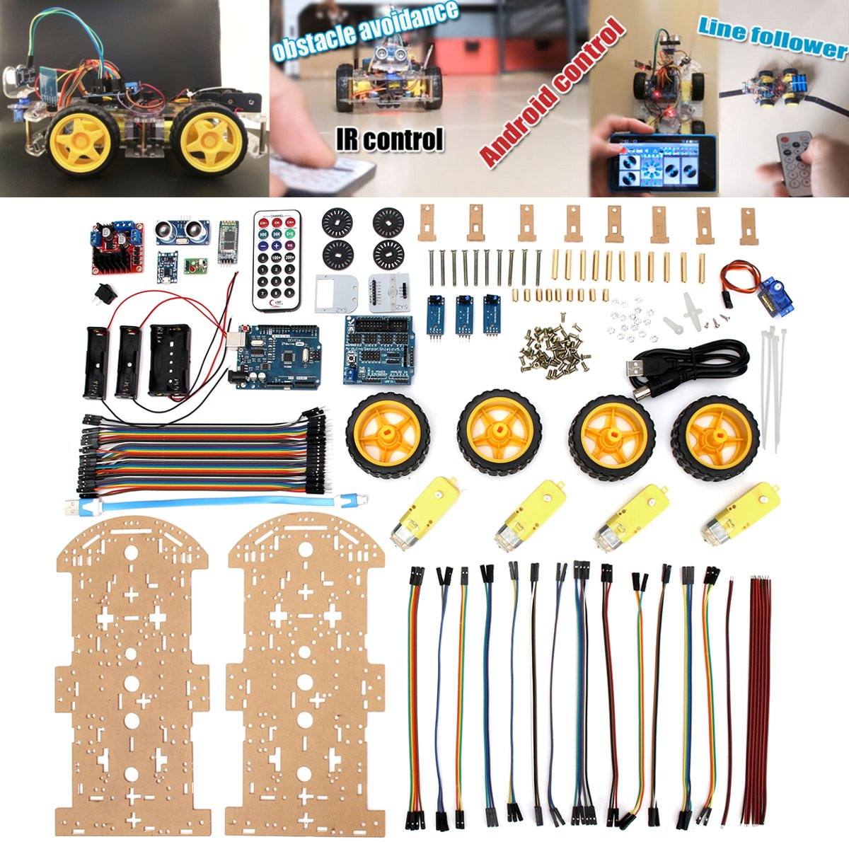Programmable Toys Vehicles 4WD Smart Robot Car Kit High Tech Toys Bluetooth IR Obstacle Avoid Line Follow L298N ForArduino