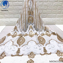 Beautifical white lace sequin fabric tulle fabrics bridal 2019 5 yards per lot fashion clothing MX5N331