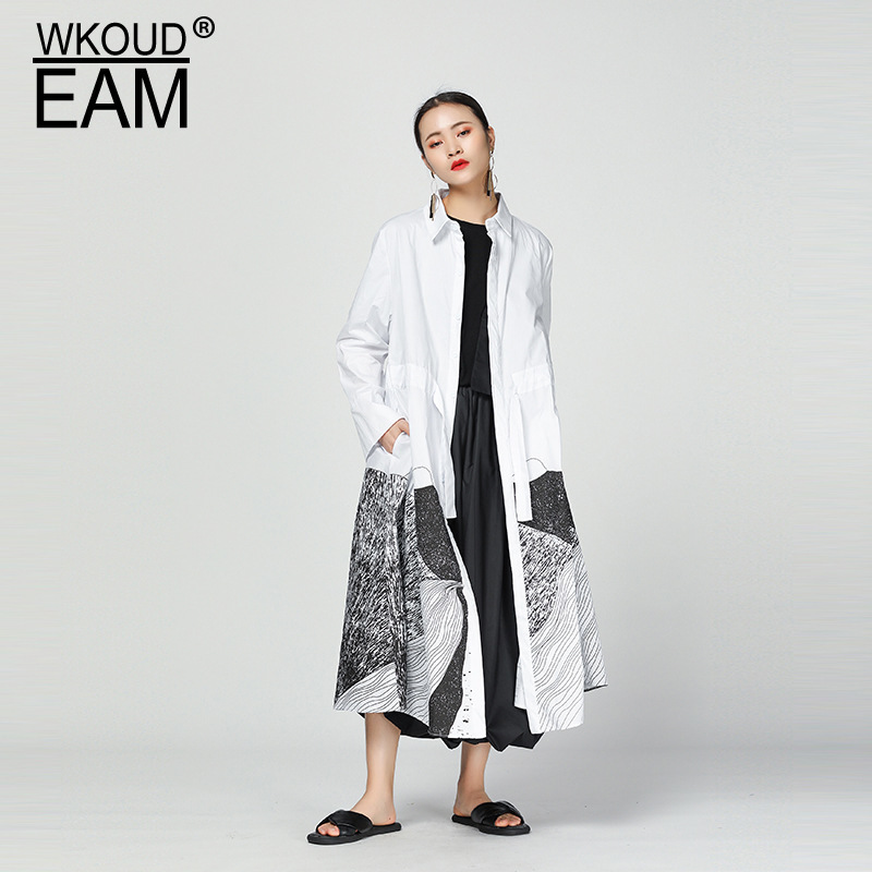 WKOUD EAM 2019 New Spring Summer Lapel Long Sleeve Pattern Drawstring Big Size Long Windbreaker Women   Trench   Fashion JS09