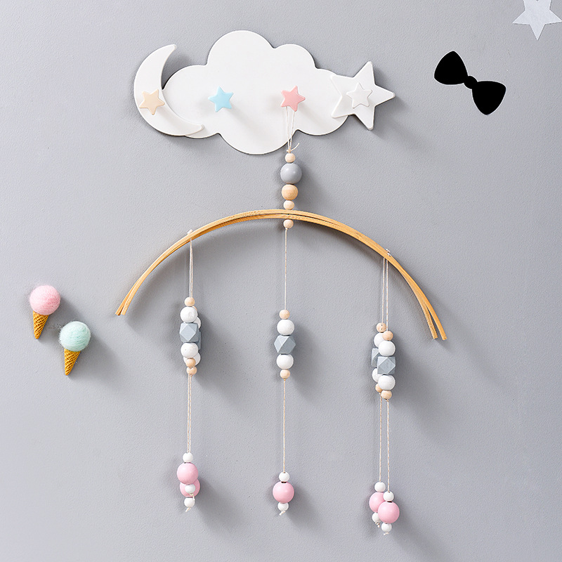 4 Star Wall Mounted Hook Moon Cloud Shape Nail-Free Hooks Shelf Coat Hat Key Bag Clothes Hanging Hanger Kids Room Decoration