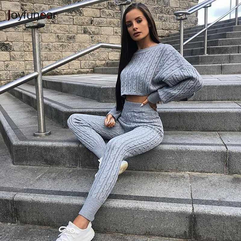 ded3169caeb4ac Joyfunear New Sleeve Pullover Tops High Waist Pants Tracksuit For Women  Sexy Two Piece Set Women