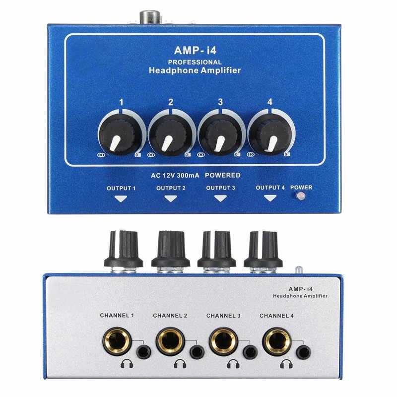 Professional Mini 4 канала Усилитель для наушников AMPI4 ультра-компактные наушники аудио стереоусилитель микшер с адаптером питания