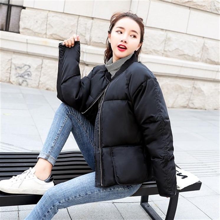 Coton Femme Solide Mode Pleine rouge blanc Court Poches Hiver Décontracté Lâche Noir Doudoune Manches Manteaux Et Vestes pVSUMz