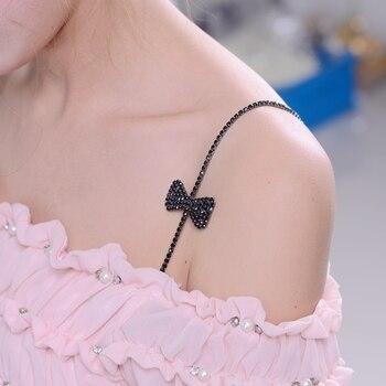 цена на Adjustable bow metal rhinestone bra straps with dense drilling shoulder chain lingerie bra straps chain