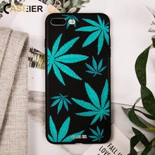 CASEIER Soft Silicone leaves Patterned Phone Case For iPhone 7 Cases Luxury Cover 5 5s SE 6 6s 8 Plus X Funda Capinha