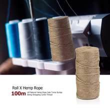 100m/roll rétro naturel chanvre corde Jute ficelle toile de Jute ficelle emballage cordes fil bricolage à la main fil à nouer macramé corde corde