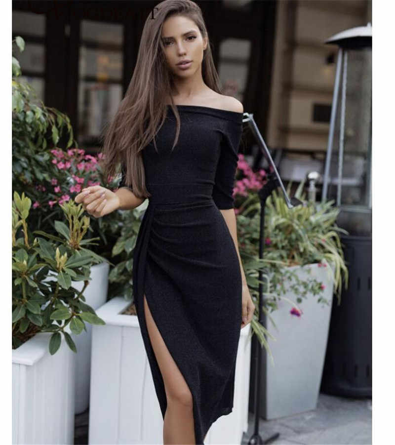 a07b3a7db663d Red Off Shoulder Party Shiny Dress Women Fashion 2018 High Split Bodycon  Slim High Waist Dresses Autumn Elegant Women's Vestido