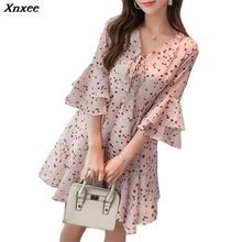 2019 Xnxee Summer Dresses Series Spring Chiffon Vintage Print Beach Dress Loose  Sleeve Vestidos