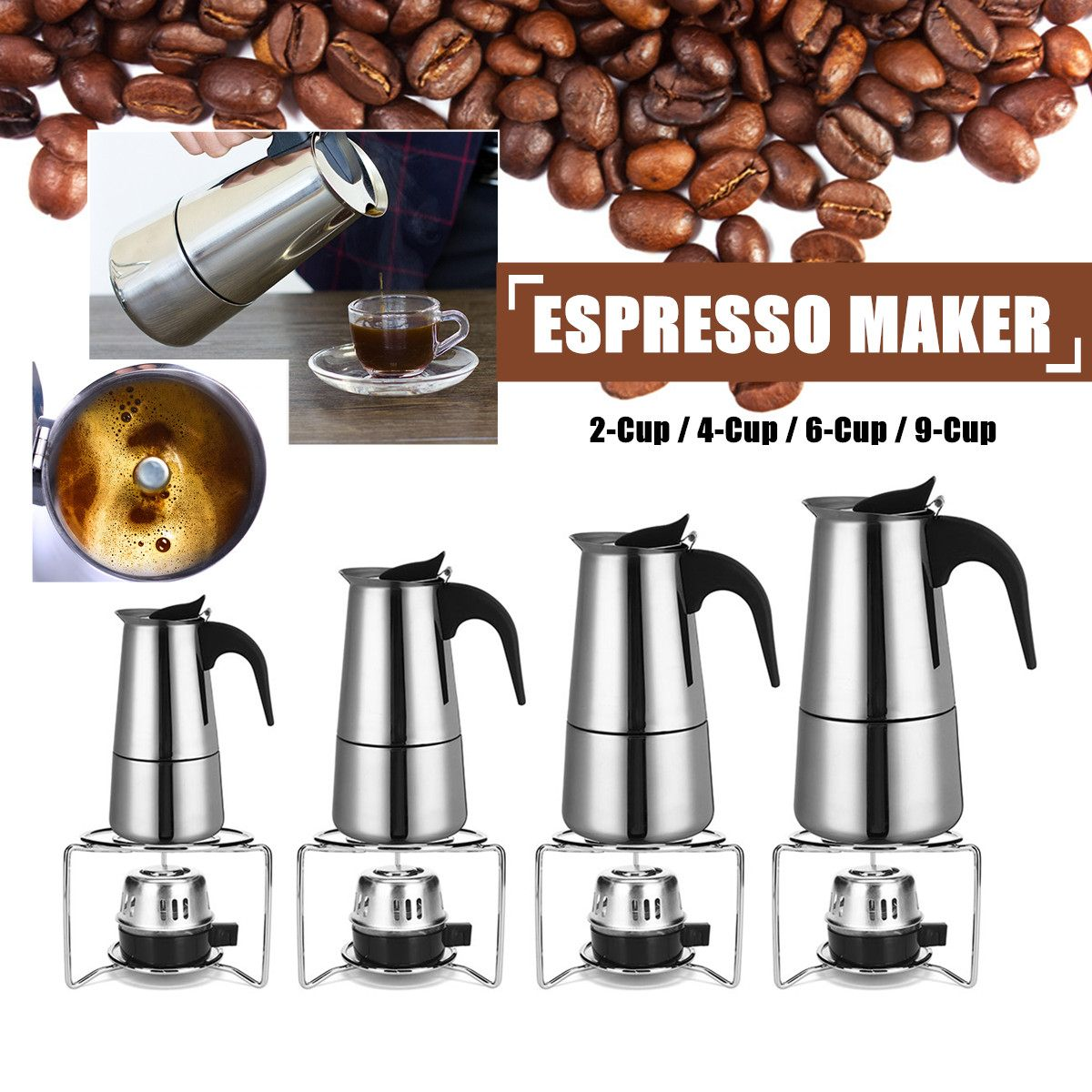 Brilliant Espresso Coffee Maker Pot Percolator Stainless Steel Quality In Alcohol Lamp 2/4/6/9 Cups Easy Clean Safety-release Valve Silicone Handle Excellent
