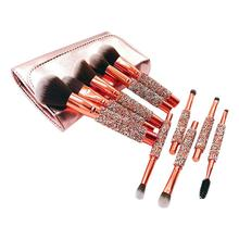 10pcs/set Rhinestone Crystal Glitter Makeup Brushes Set Pro Foundation Brushes Blending Concealer Make Up Brush Set Dropshipping