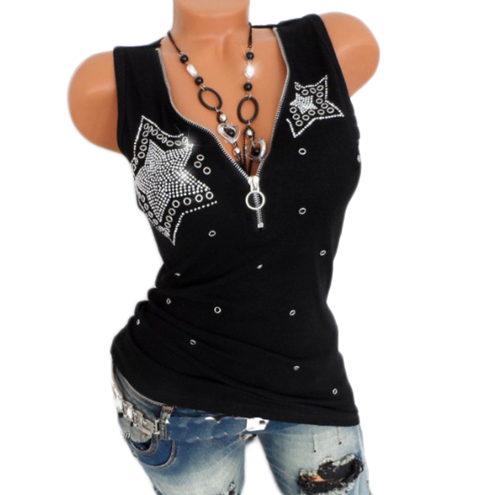 Sexy Slim Women's Summer Rhinestones Star Pattern   Tank     Tops   Female Ladies Solid Black Plus Size Sleeveless V-Neck Vest T Shirts