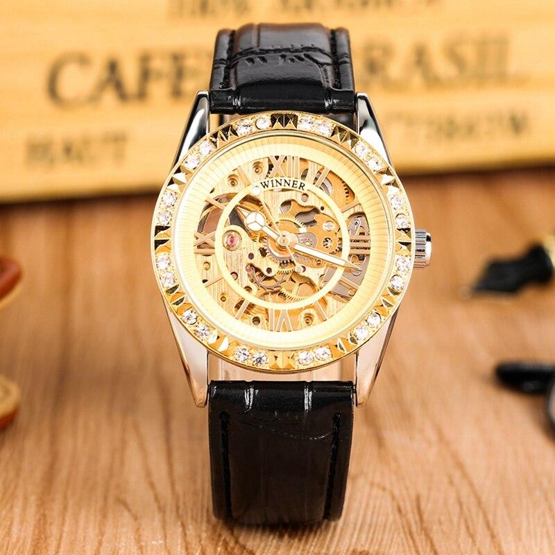 T-WINNER Watch Mens Diamond Bezel Display Automatic Mechanical Skeleton Wrist Watches Top Brand Luxury Winner Clock Male
