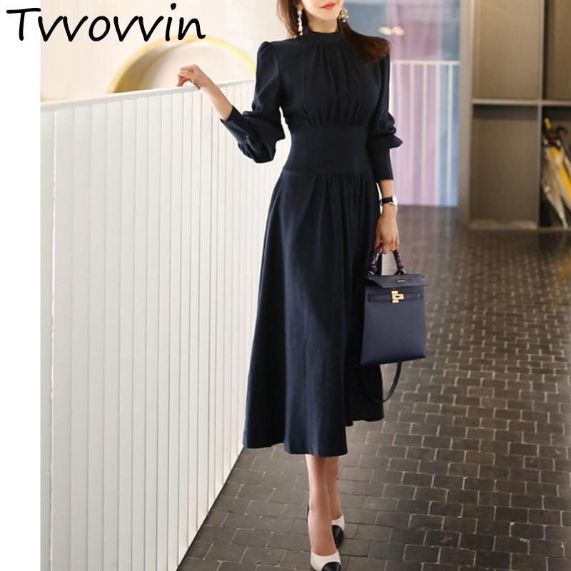 TVVOVVIN Ladies Stand Collar Lantern Sleeve Women Elegant Slim Waist A-line Ruched Female Long Dress Party Vestidos femme R402
