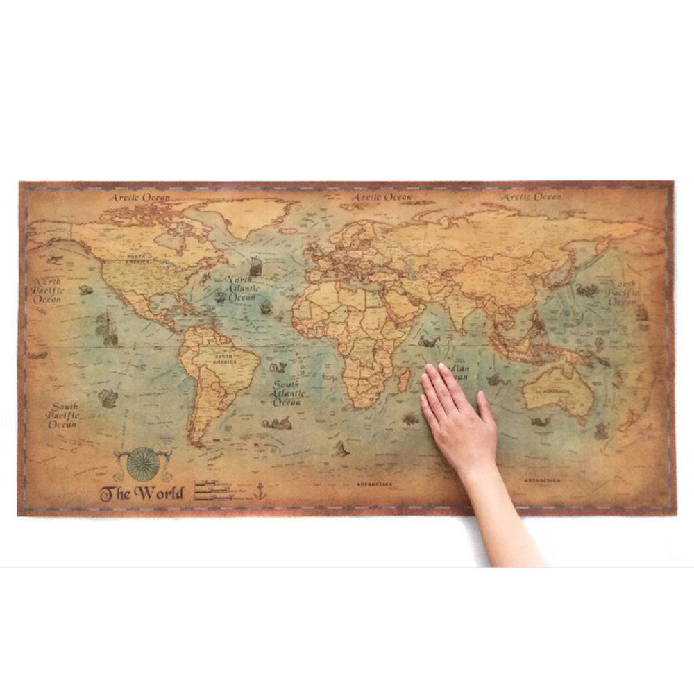 New Nautical Ocean Sea world map Retro old Art Paper Painting Home Decor Sticker Living Room Poster Cafe Antique poster