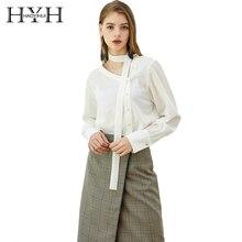 HYH HAOYIHUI  New Spring Autumn Tops Office Ladies Fashion Long Sleeve Slim White Asymmet Shirt Female Cute Work Vogue Blouses