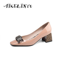 AIKELINYU Woman High Heel Shoe Big Size 34-41 Office Shoes Women Genuine Leather Ladies Pumps Chunky Leopard Print High Shoes цены онлайн