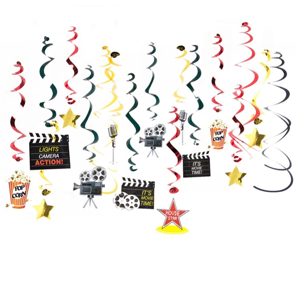 Hollywood Theme Party Supplies Star Clapboard Cutout Hanging Swirls For Movie Night Decorations