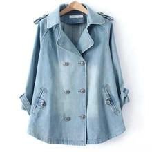 New Cloak Denim Jackets Women Boyfriend Style Jean Jacket Spring Autumn Long Sleeve Washed Denim Jeans Coats Casacos Feminino цены онлайн