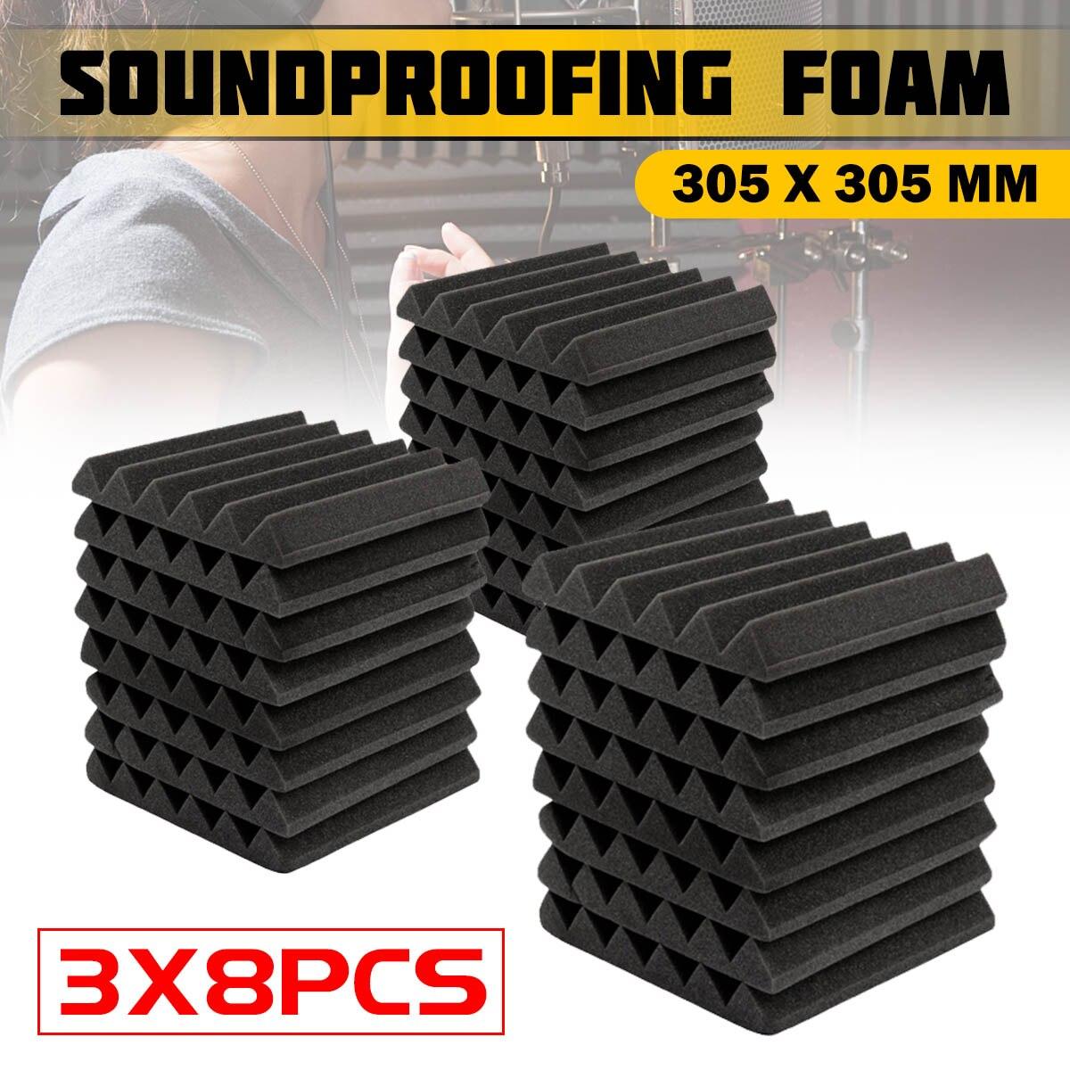 3x8Pcs 305 x 305 x 45mm Soundproofing Foam Acoustic Foam Sound Treatment Studio Room Absorption Tiles Polyurethane foam3x8Pcs 305 x 305 x 45mm Soundproofing Foam Acoustic Foam Sound Treatment Studio Room Absorption Tiles Polyurethane foam
