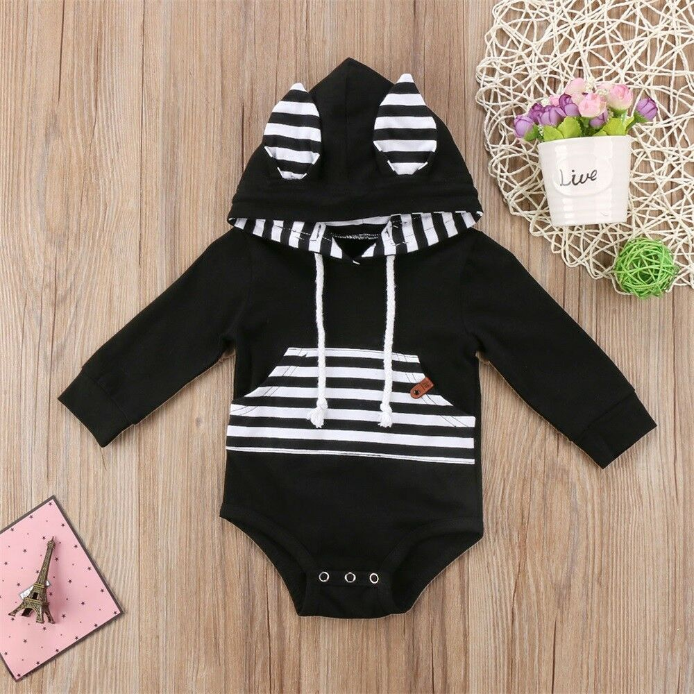 Pudcoco Baby Kids Jumpsuits 0-24M Baby Boys Girl Infant Long Sleeve Romper Jumpsuit Hooded Clothes Outfit