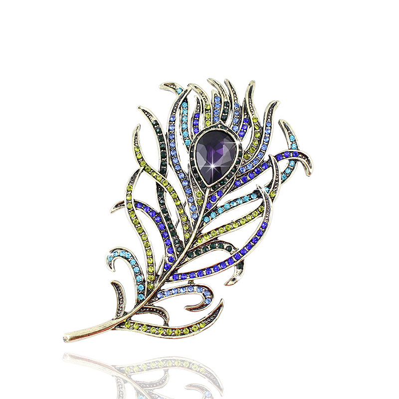 New Arrival Large Women Vintage Bronze Feather Brooch Antique Crystal Gold Metal Rhinestone Accessory Jewelry, Item-Bh7943