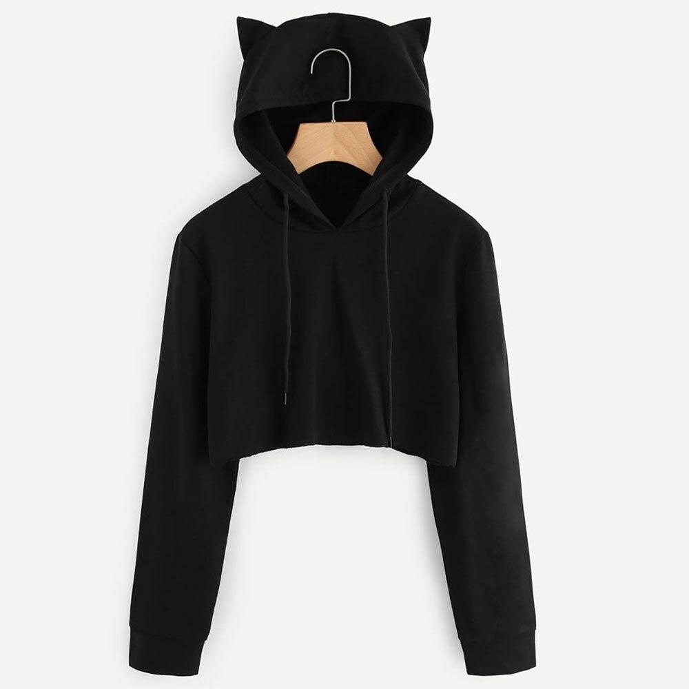 Feitong Harajuku Women Hoodies Sweatshirt Cat Ear Long Sleeve Black Solid Short Sweatshirt Pullover Tops sudadera mujer 2018
