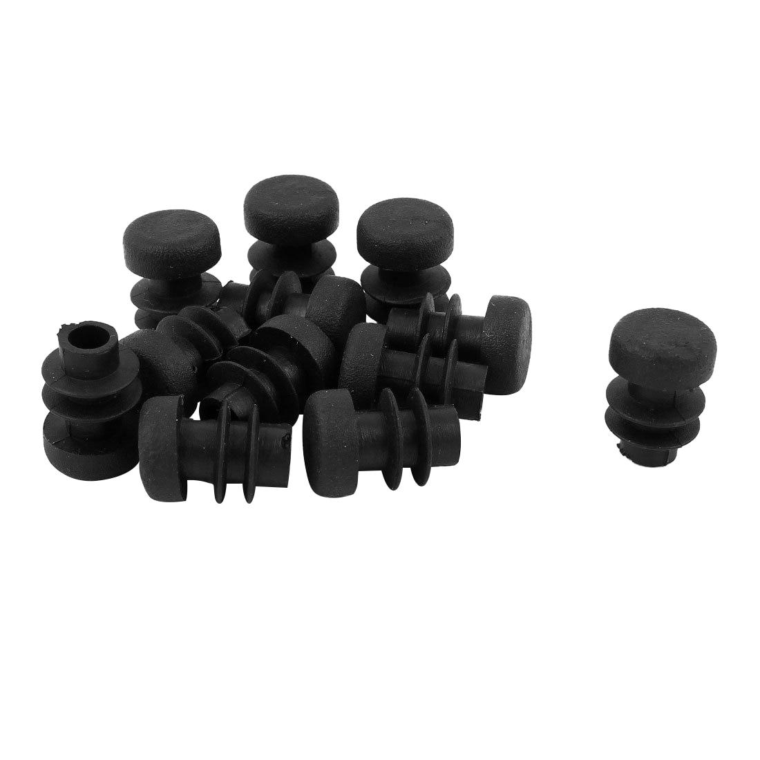 12 Pcs Plastic 12mm Pipe End Blanking Caps Bung Tube Insert Plug Round Black