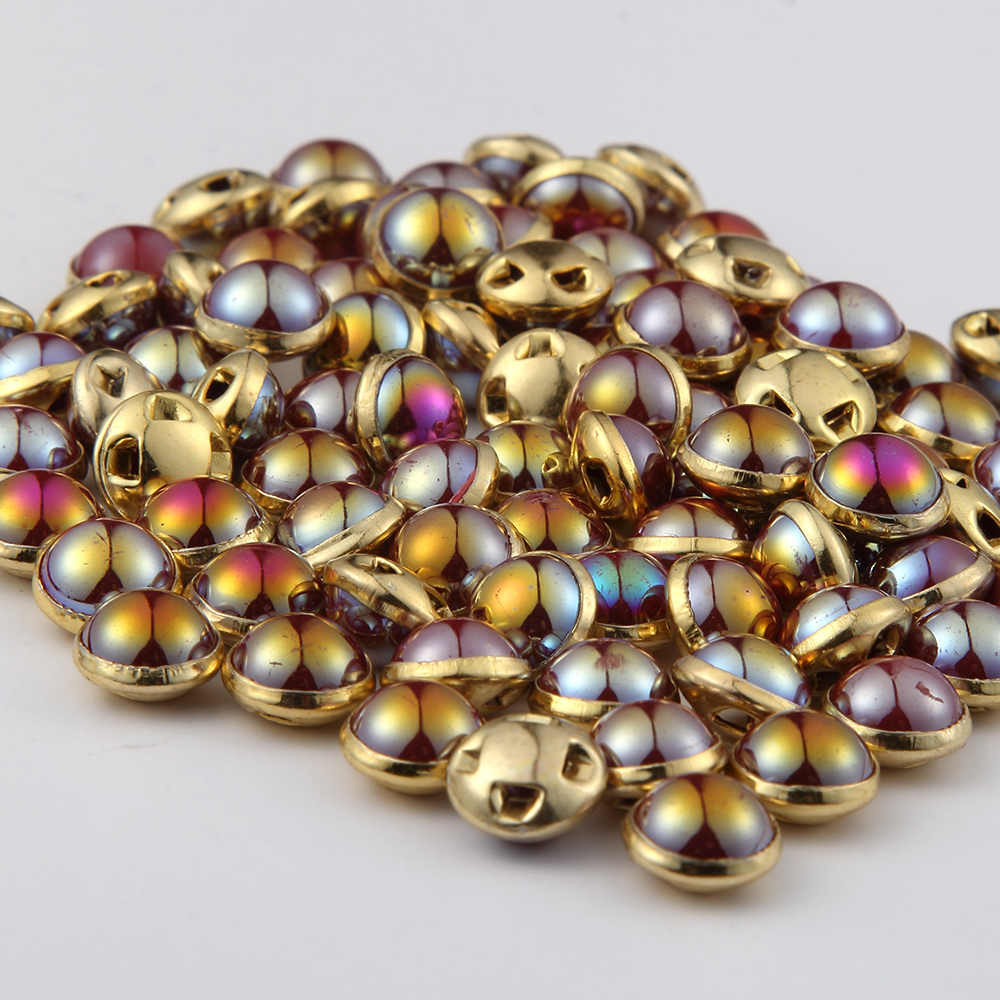 New 50Pcs <font><b>8mm</b></font> Round Rhinestones Pearl <font><b>Buttons</b></font> Sewing Tools Decorative <font><b>Button</b></font> gold side For cloths sweater image