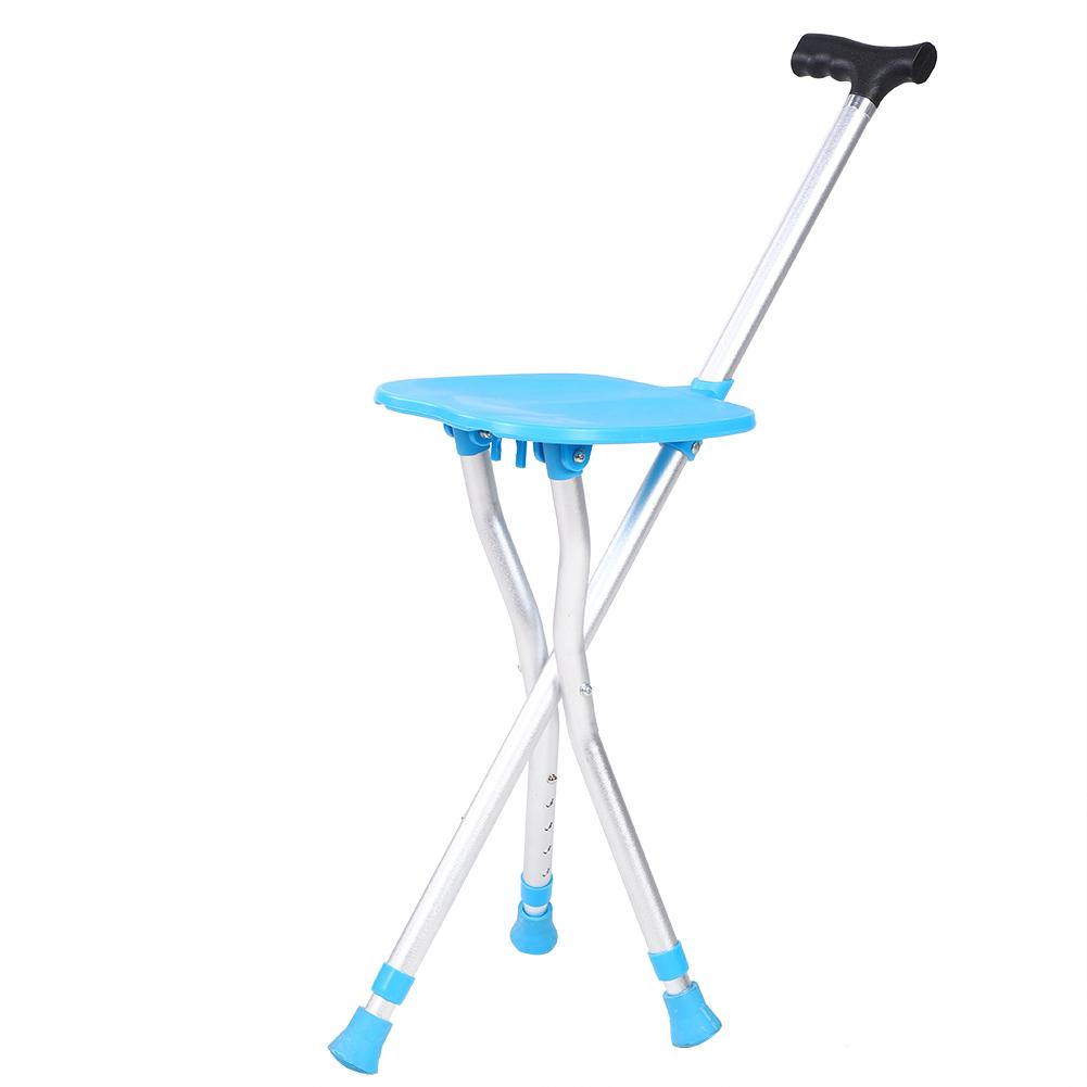Multi function Folding Walking Stick Aluminum Alloy Aid Tripod Crutch Chair for Outdoor Camping hiking walking