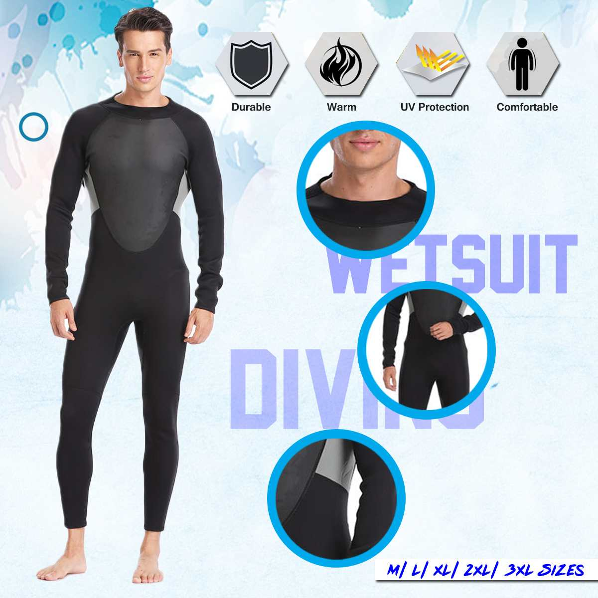 3MM MEN WetSuit M/L/XL/2XL/3XL One Piece Neoprene Full Body suit Super stretch Diving Suit Swim Surf Snorkeling Diving Surfing3MM MEN WetSuit M/L/XL/2XL/3XL One Piece Neoprene Full Body suit Super stretch Diving Suit Swim Surf Snorkeling Diving Surfing